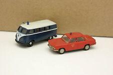 Brekina 1/87 HO - Lot de 2 BMW 1500 et VW Combi T1 Pompiers Feuerwehr