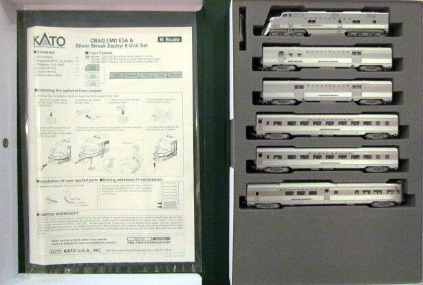 barato en alta calidad Kato 106090 N escala E5A E5A E5A Pass 6 Unidad Set CB&Q plata Streak Zephyr 106-090 - Nuevo  salida