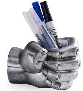 Image Is Loading Crazy Silver Hand Pen Holder Desk Pencil Organizer