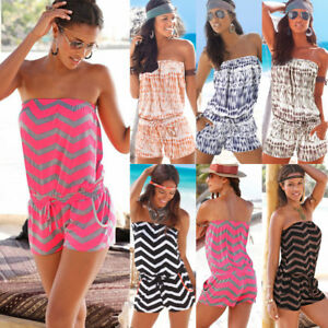 UK Women Holiday Strapless Bandeau Boob Tube Ladies Summer Beach Floral Jumpsuit