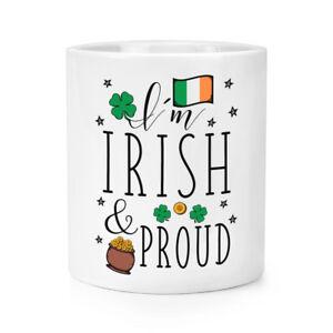 I-039-M-Irlandais-Et-Fier-Maquillage-Brosse-Crayon-Pot-Irlande-Trefle