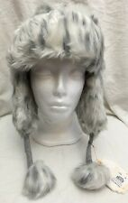 NEW Pottery Barn Faux Fur Trapper /Bomber Hat Grey Leopard Winter PB Teen 1 Size
