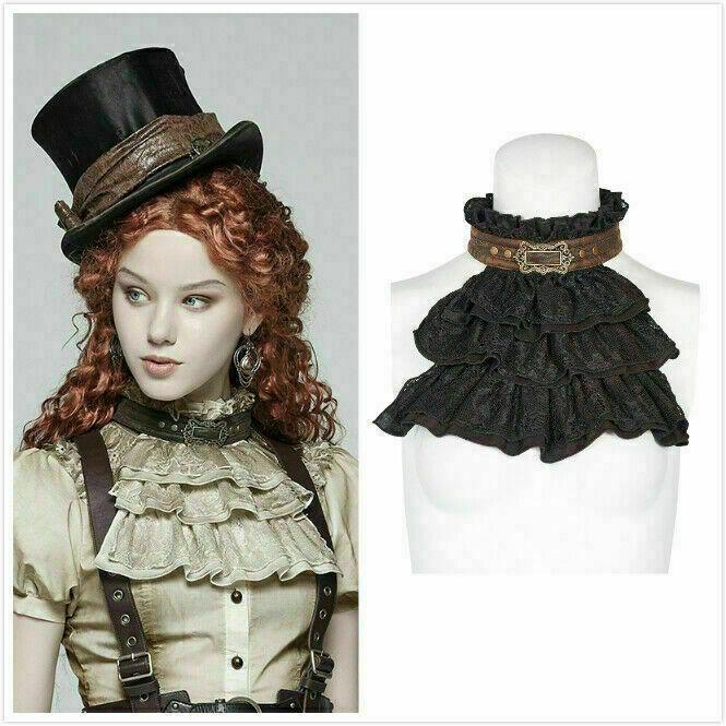 Cool Gothic Women Accessories Steampunk Necklines Vintage Ruffled Collar Bowtie