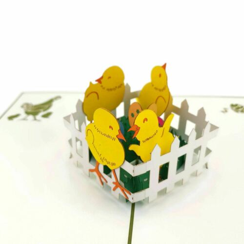 Baby Chicks With Easter Eggs 3d pop up card
