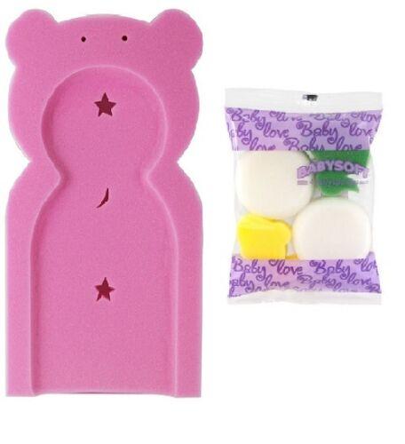 Primer paso Rosa Recién Nacido Bebé Baño Soporte alfombra de gomaespuma Esponja de seguridad y 4 Juguetes De Esponja
