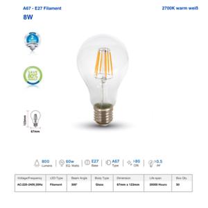 LED Glühbirne 8W 2700k warmweiß PREMIUM Serie Filament E27 A67 hochwertig