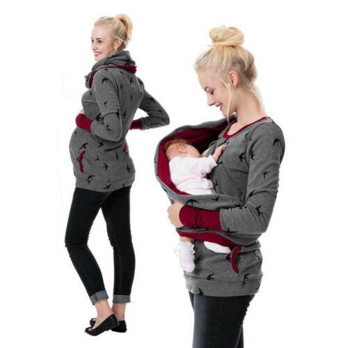 Women Maternity Pregnant Hoodie Sweatershirt Breastfeeding Nursing Jumper Tops L