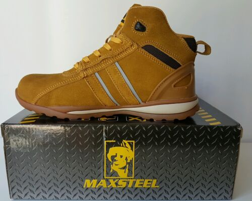 MENS Sand honey STEEL TOE CAP SAFETY ANKLE BOOT  TRAINER SHOES WORK SIZE UK 9