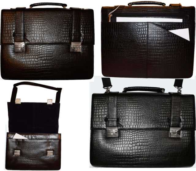 New Crocodile Skin Printed Leather Briefcase Black Business case Attach/é sac Bag