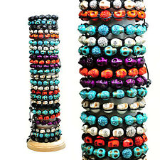 Wholesale Pack 25pcs Tibetan Macrame Bracelet Colored Skulls Ferido Bead  & CZs