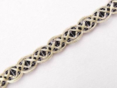 """20 Yards Metallic Ribbon Trim Light Gold & Black 3/8"""" Wide Sewing DIY"""