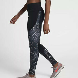 Details about WOMENS NIKE POWER PRINT FLUTTER TRAINING TIGHTS SIZE S (933453 011) BLACK