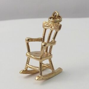 14K Gold 3D Ornate Rocking Chair Baby Rocker Charm Pendant 2.4 gr