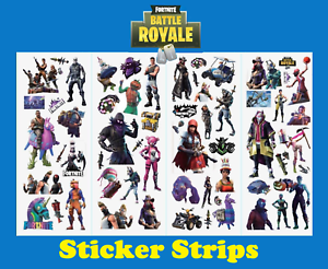 birthday-Battle Royale fort 10 x Gaming Kids Sticker strips loot party bags