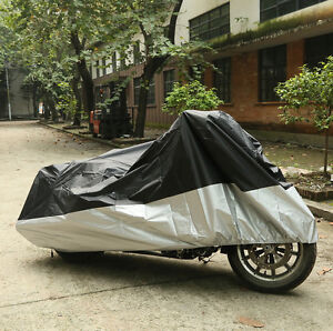 Silver XXXL Motorcycle Rain UV Protector Cover For Harley Davidson Street Glide