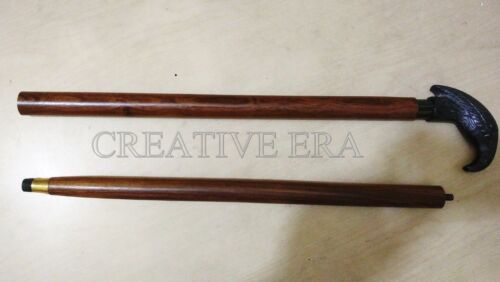 Antique Brass Crow Head Handle Vintage Style Wooden Walking Cane Vintage Style