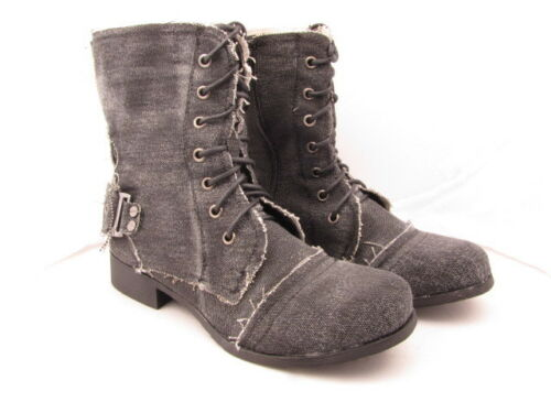 Girls Claudia Ghizzani Black Biker Style Lace Up Boots with Zip Sizes UK 12-2.5