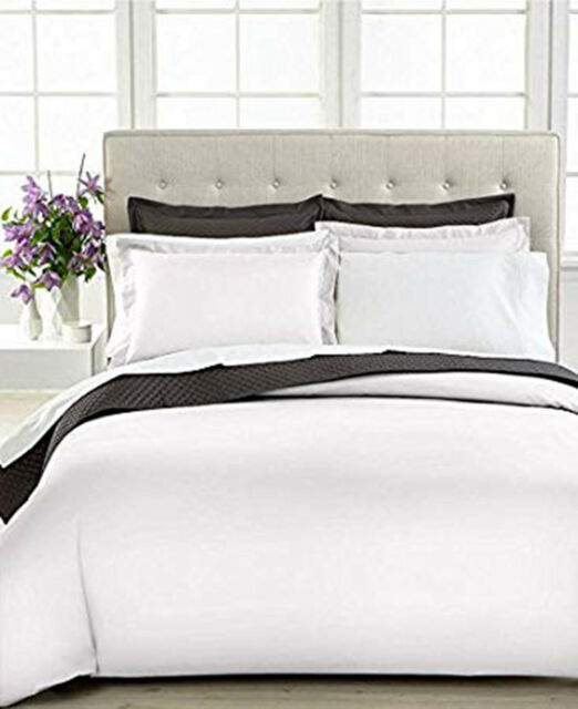 Charter Club Bedding Damask Solid 500 Thread Count Full Queen Duvet Cover White