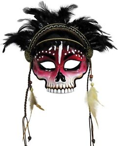 Details about Black Magic Voodoo Face Mask Adult Witch Voo Doo Priestess  Costume Accessory