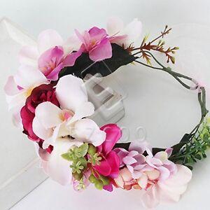 Damen Rosa Blumenkrone Blumenkranz Hochzeit Blumen Bluten