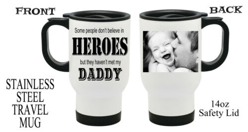 Personalised Heroes PHOTO Travel Thermal Mug Dad Grandad Fathers Day Gift