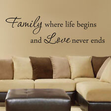 Family Where Life Begins Wall Decal Inspiration Quote Vinyl Removable Home Decor