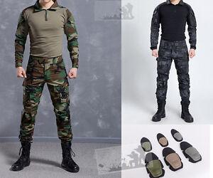 Tactical-Combat-Uniform-Sets-Army-Shirt-Pants-Military-Elbow-Knee-Pads