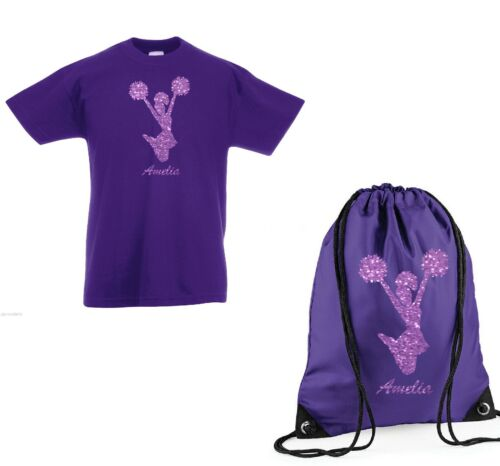 Girls Personalised Cheerleader T Shirt /& Bag Set with own name Age 3-13 NEW