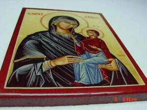 Vintage Saint Anne Anna Mary Wall Hanging Religious Picture Dated 1983 Faith