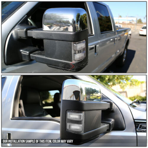 Smoked Housing White LED Side Mirror Turn Signal Light for 08-16 Ford Superduty