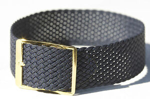 Navy-blue-braided-nylon-18mm-military-watch-band-tropical-1960s-NOS-11-sold-here