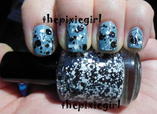 Black White Holographic Glitter Circle Dot Indie Nail Polish 15mL Full Handmade