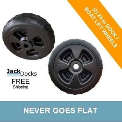"""TWO 24/"""" Never-go-flat Plastic Boat Lift Wheels"""