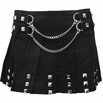 Jawbreaker Pyramid Stud Punk Mini Skirt Rockabilly Retro Gothic Tattoo Pleated