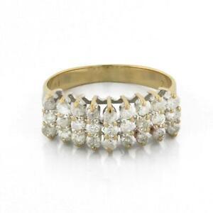 Estate-3-Row-Diamond-Ladies-Band-Ring-14K-Yellow-Gold-1-00-CTW-Diamonds-Size-9-5