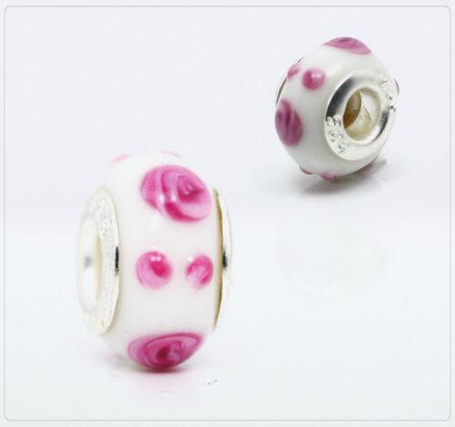 1x vidrio grande agujero módulo perlas Lampwork beads charm joyas DIY Pang 023