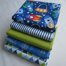 Space rockets stripe triangles blue green boys designer fabric bundle