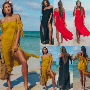 Women-Girl-Off-Shoulder-Sundress-Side-Split-Plain-Maxi-Dresses-Beach-Party-Dress
