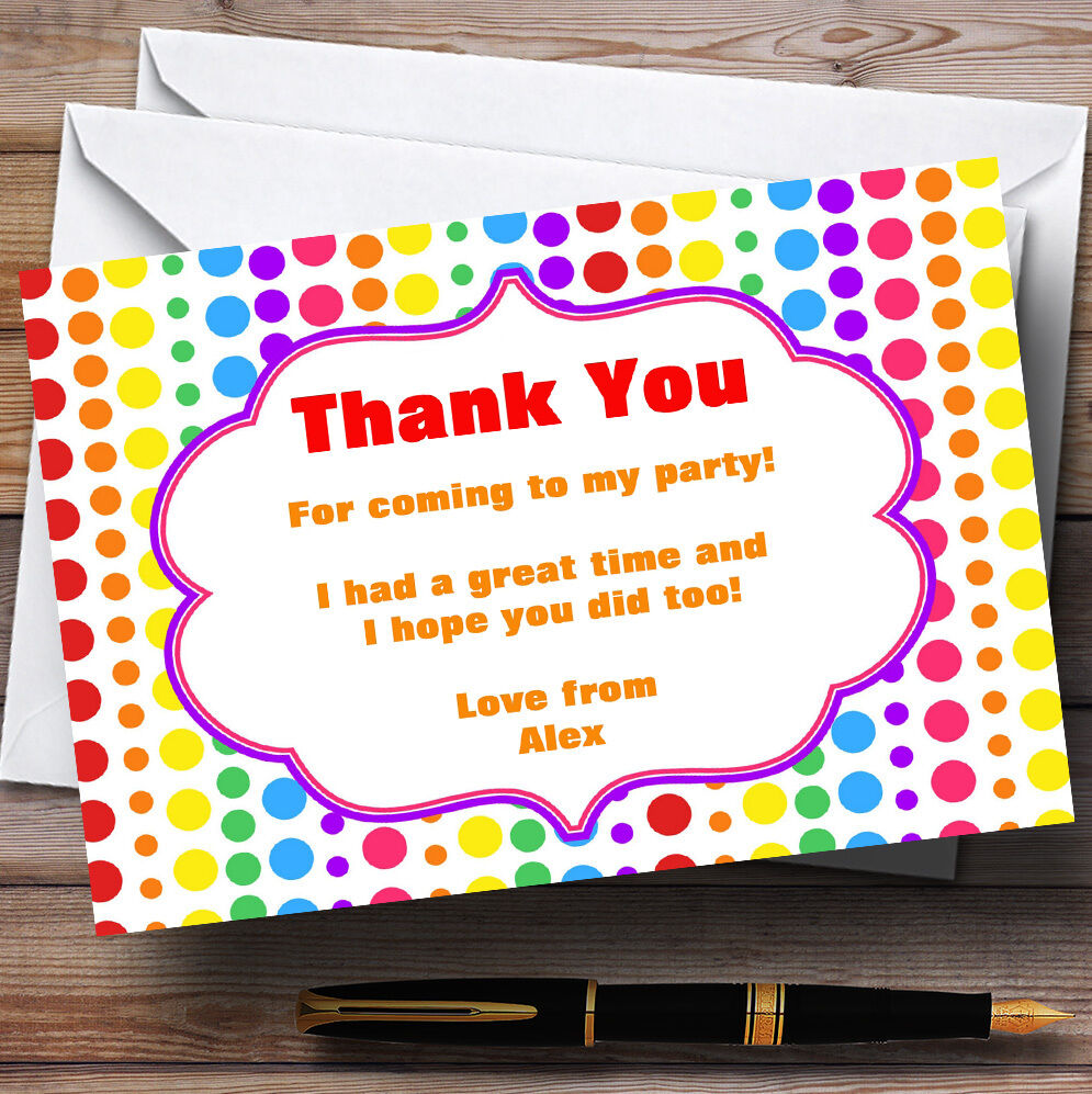 Rainbow Polkadot Personalised Birthday Party Thank You Cards