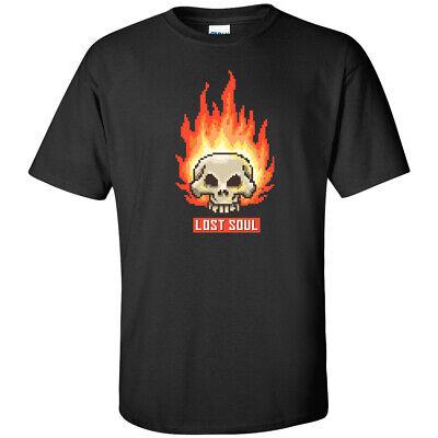Burning Skull Lost Soul 8 Bit Retro T Shirt Vintage 80s Pixel Art Fire Mens Tee