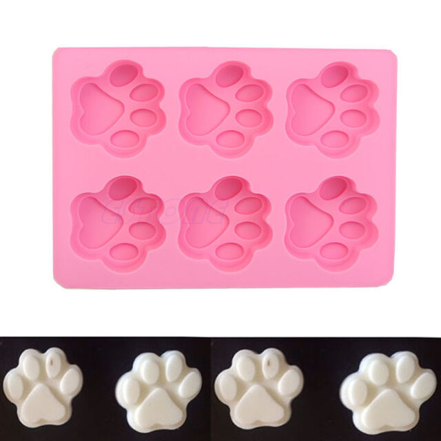 6-Cat's Paw Silicone Ice Cube Chocolate Cake Cookie Cupcake Soap Molds Mould