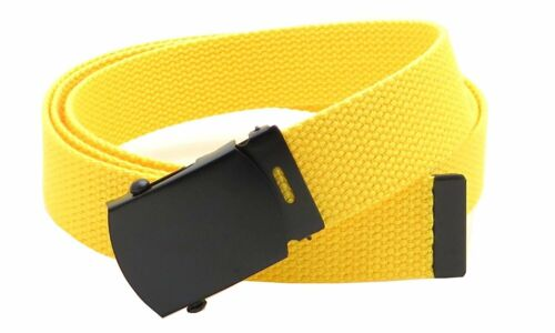 """Canvas Web Belt Military Style with Black Buckle and Tip 56/"""" Long Many Colors"""