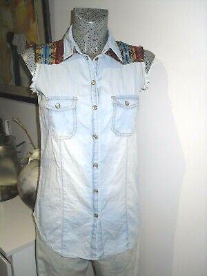 chemise country sans manche taille XS 34 36 veste gilet haut en jeans woman top | eBay