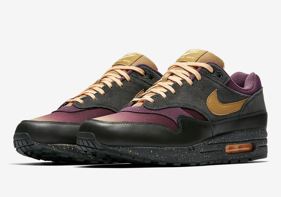 newest collection bcdcb ad71c NIKE AIR MAX 1 PREMIUM FADE 875844 002 ANTHRACITE PRO PURPLE ELEMENT gold  BLACK