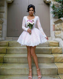 Details about White Short Wedding Dresses Long Sleeves V Neck Mini Bridal  Gowns Custom Size