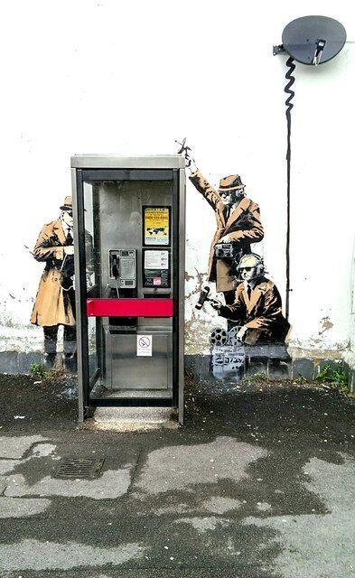 Framed Banksy Street Art Print – MI5 Spies Hewlett Road Cheltenham (Graffiti)