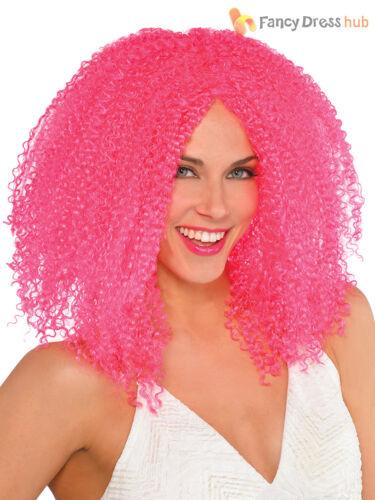 Mujer señoras Rosa Rizado Afro Peluca Arlequín miel Bufón Halloween Vestido de fantasía