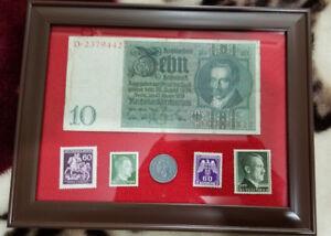 German WW2 Rare 10 Rp Coin wth Stamps & V RARE 10 Mark Bill