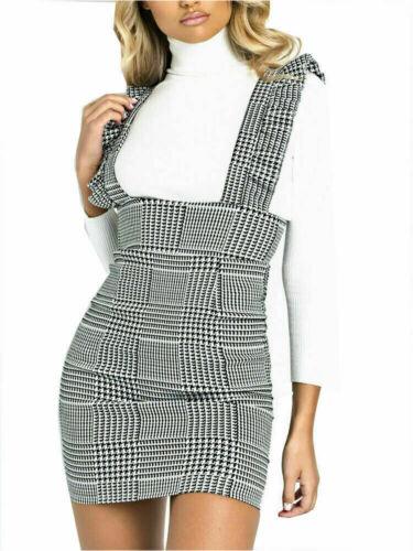 New Women New Ladies Check Tartan Fril Ruffled Pinafore Bodycon Mini Dress 8-14