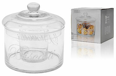 Stunning Glass Biscotti Jar Biscuit Jar Cookies Sweet Jar 2 Compartments